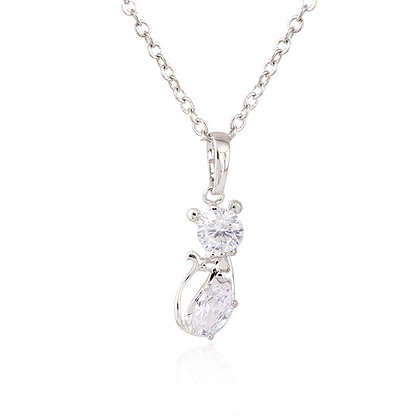 Dainty Silver Plated Crystal Cat Necklace