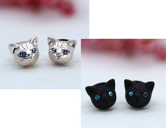 Blue Crystal Eyed Cat Face Earrings