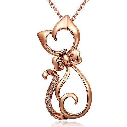 Rose Gold Outlined Cat w CZ Tail
