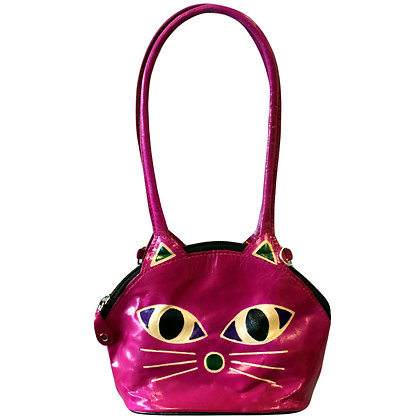 Tooled Leather Cat Face Bag