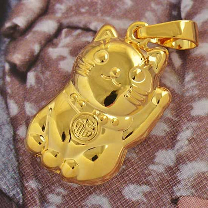 "Gold Lucky Cat ""Meneki Neko"" Necklace"