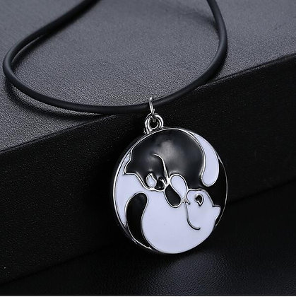 Ying & Yang Black & White Cats Necklace