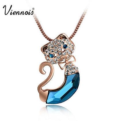 Blue Swarovski Crystal Cat Necklace