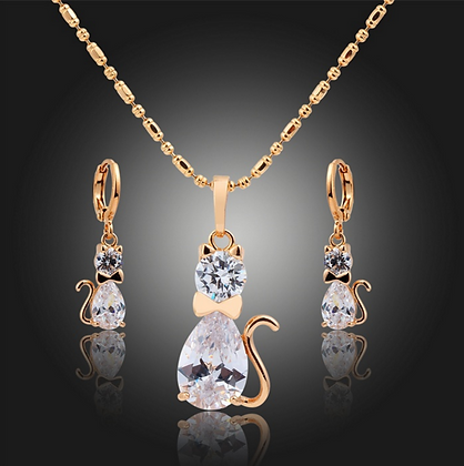 Cubic Zirconia & Gold Cat Necklace & Earrings