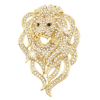 Swarovski Crystalled Roaring Lion Brooch