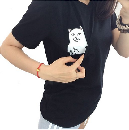 """Cat Giving The Finger"" Black T-Shirt"