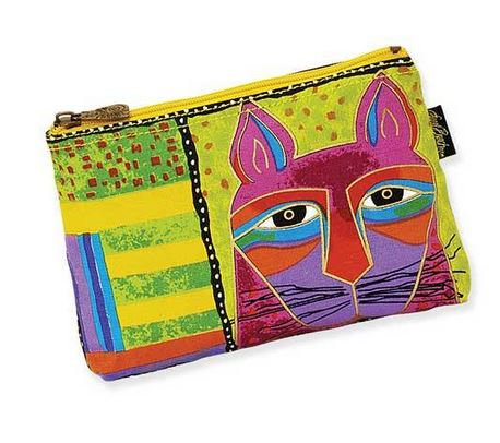 """Whiskered Cat"" Cosmetic Bag - Lime"