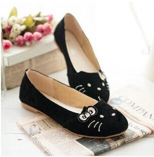 Embroidered Cat Face Velvet Loafers