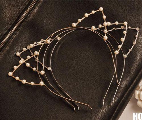 Cat Ears Metal Headband - Crystals or Pearls