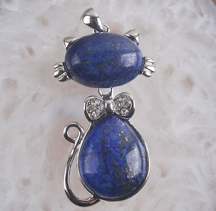 Lapis Lazuli Cat Long Necklace