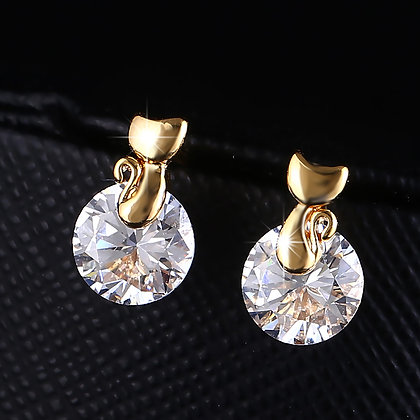 Small Gold Cat Over Round CZ Studs