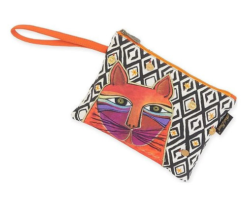 """Whiskered Cats"" Wristlet - Orange"