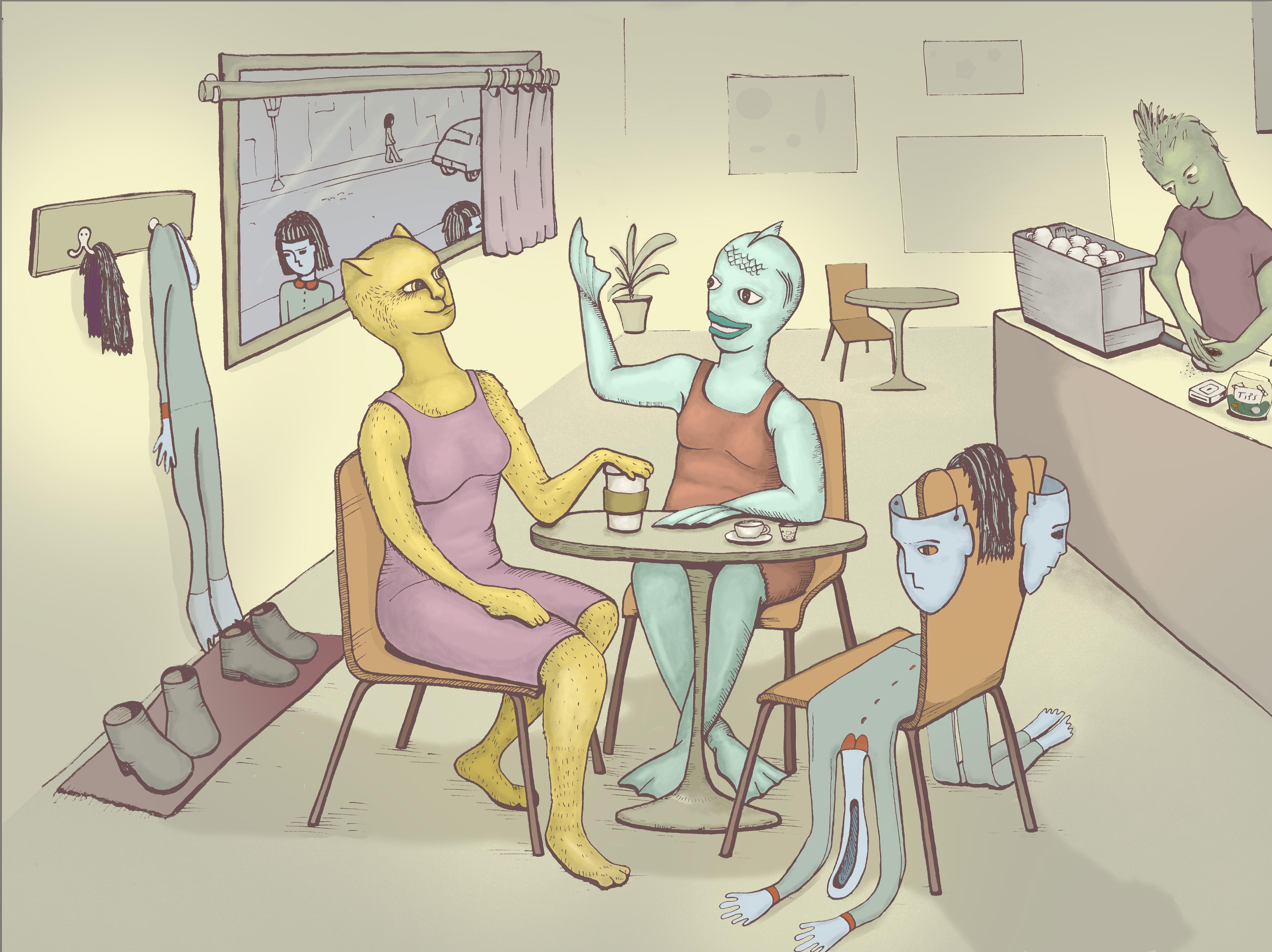 Coffee Shop with humanoids