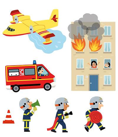 illustrations jeunesse, gommettes pompiers personnages et véhicules .  illustrateur : Jean-Sébastien Deheeger