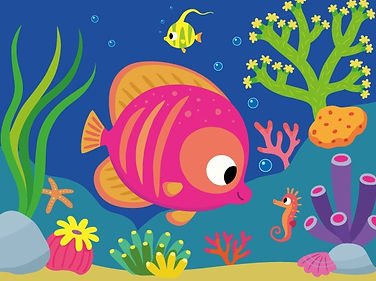 illustration jeunesse de poisson et hippocampe, illustrateur : Jean-Sébastien Deheeger