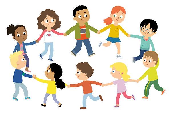 Enfants qui font la ronde , illustration jeunesse  pour méthode scolaire.  illustrateur : Jean-Sébastien Deheeger