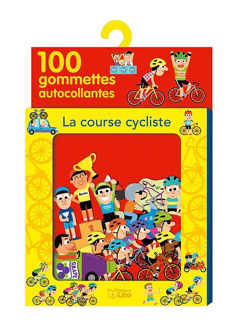 illustration jeunesse de packaging boite de gommettes sur le thème du cyclisme, EditionsLito .  illustrateur : Jean-Sébastien Deheeger