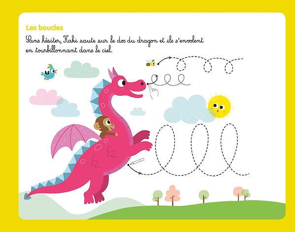 illustration jeunesse pour ardoise animée, petit singe sur dragon .  illustrateur : Jean-Sébastien Deheeger