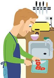 illustration homme qui fait la cuisine, illustrateur : Jean-Sébastien Deheeger