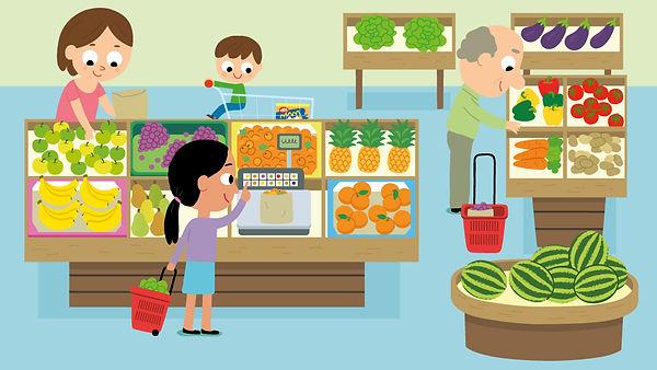 illustration jeunesse le supermarché rayon fruits et légumes, illustrateur : Jean-Sébastien Deheeger