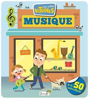 """illustration jeunesse de couverture du titre """"mes petites vitrines"""" le magasin de musique, illustrateur : Jean-Sébastien Deheeger"""