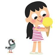 illustration jeunesse de petite fille et glace, illustrateur : Jean-Sébastien Deheeger