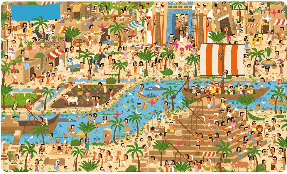 Illustration jeunesse sur le thème de l' égypte , Cherche et trouve géant.  illustrateur : Jean-Sébastien Deheeger