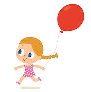illustration jeunesse de petite fille avec ballon, illustration jeuIllustration jeunesse, la ville la nuit, illustrateur : Jean-Sébastien Deheeger
