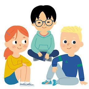 personnages enfants assis , illustration jeunesse  pour méthode scolaire.  illustrateur : Jean-Sébastien Deheeger