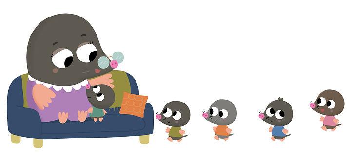 illustration jeunesse, mamie taupe et ses petites taupes, illustrateur : Jean-Sébastien Deheeger