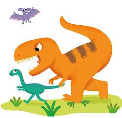 illustration jeunesse de dinosaures, illustrateur : Jean-Sébastien Deheeger