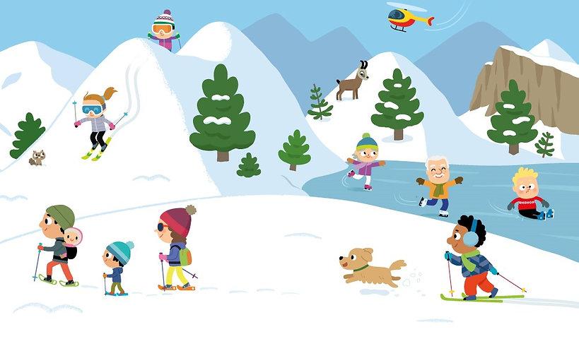 illustration jeunesse, personnages à la montagne,  illustration pour le magazine Popi  illustrateur : Jean-Sébastien Deheeger