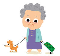 illustration jeunesse , mamie se promene , vieille dame avec son chien caniche, illustration jeuIllustration jeunesse, la ville la nuit, illustrateur : Jean-Sébastien Deheeger