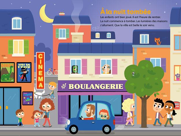 illustration jeuIllustration jeunesse, la ville la nuit, illustrateur : Jean-Sébastien Deheeger