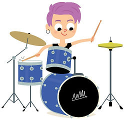 illustration jeunesse de jeune femme qui joue de la batterie, illustrateur : Jean-Sébastien Deheeger