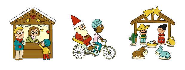 illustrations jeunesses  sur le thème de Noël dans le monde, illustrateur : Jean-Sébastien Deheeger