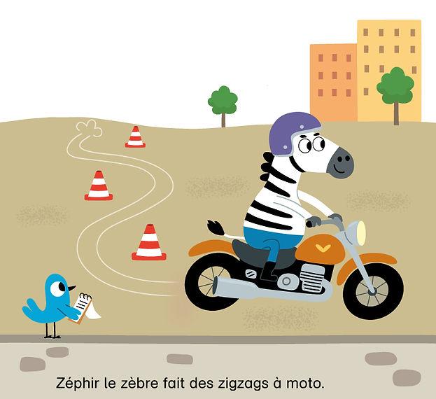 illustration jeunesse d'un zebre sur sa moto , illustrateur : Jean-Sébastien Deheeger