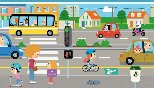 Illustration jeunesse d'une scène dans la rue avec personnages et véhicules,  illustrateur : Jean-Sébastien Deheeger