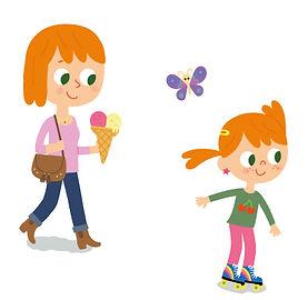 Illustration jeunesse, maman et fille qui fait du roller,  illustrateur : Jean-Sébastien Deheeger