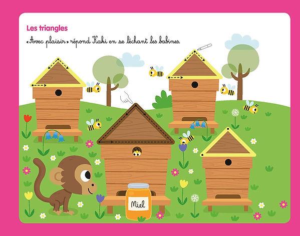 illustration jeunesse pour ardoise animée, petit singe et ruches.  illustrateur : Jean-Sébastien Deheeger
