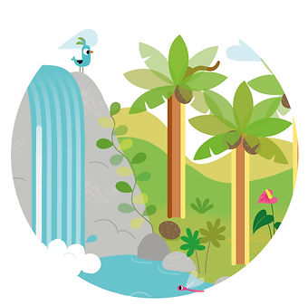 décor ardoise animée, oiseau et cascade dans la jungle.  illustrateur : Jean-Sébastien Deheeger