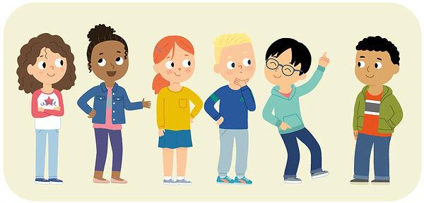 Enfants debouts , illustration jeunesse  pour méthode scolaire.  illustrateur : Jean-Sébastien Deheeger