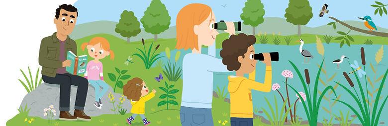 illustration famille en vacances observation des oiseaux, illustrateur : Jean-Sébastien Deheeger