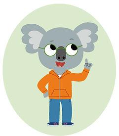 mascotte koala, illustration jeunesse pour méthode scolaire.  illustrateur : Jean-Sébastien Deheeger