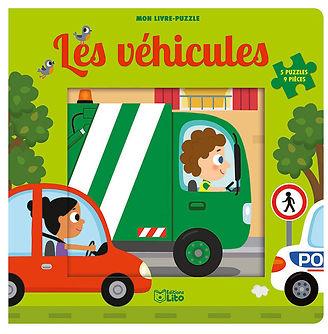 """illustration jeunesse de couverture du livre puzzle """"les véhicules"""" ,  illustrateur : Jean-Sébastien Deheeger"""