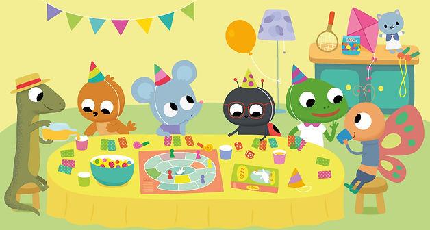illustration jeunesse l'anniversaire de la souris et ses amis, illustrateur : Jean-Sébastien Deheeger