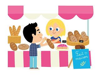 illustration jeunesse, stans de boulangerie, illustrateur : Jean-Sébastien Deheeger