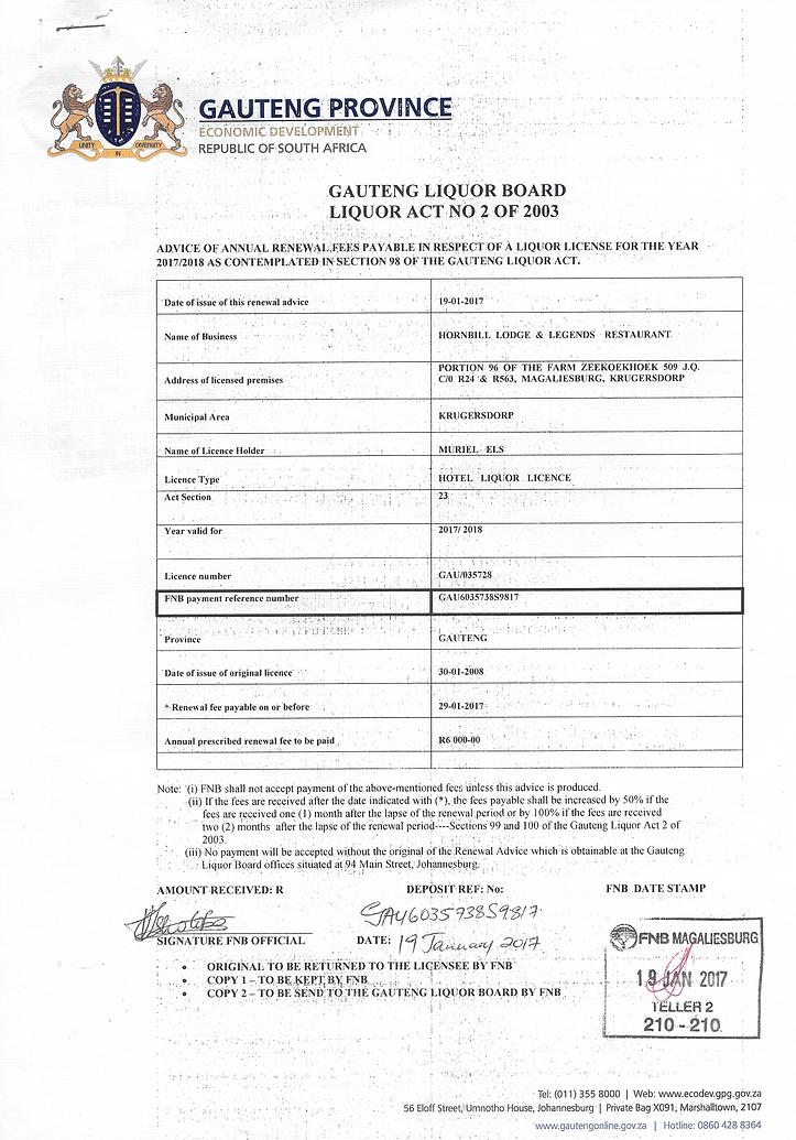 Hornbill Lodge - 2017 Liquor Licence