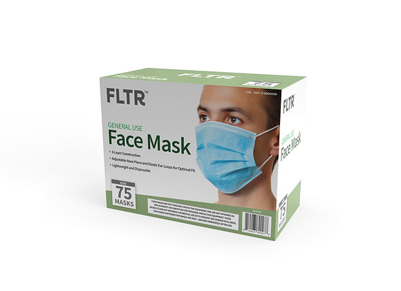 General Use Face Masks 75PK - Blue