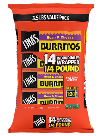 Tina's Individually Wrapped 14 count Bean & Cheese Burritos